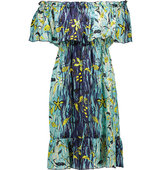 Anna Sui Anna Sui Gone Fishing Off The Shoulder Printed Silk Georgette Mini Dress Sky Blue