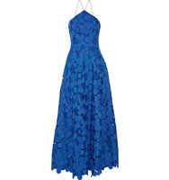 Badgley Mischka Badgley Mischka Floral Lace Gown Royal Blue