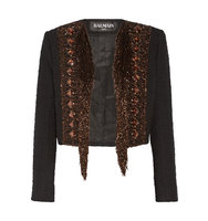 Balmain Balmain Embellished Cotton Blend Boucl Jacket Black