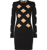 Balmain Balmain Mesh Paneled Stretch Knit Mini Dress Black