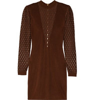 Balmain Balmain Mesh Paneled Stretch Knit Mini Dress Chocolate