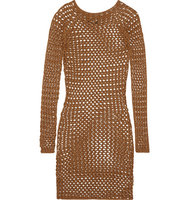 Balmain Balmain Open Knit Cotton Mini Dress Tan