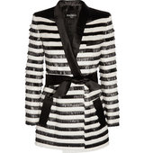 Balmain Balmain Satin Trimmed Striped Raffia Jacket Black
