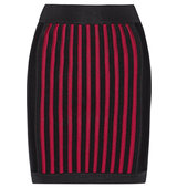 Balmain Balmain Striped Stretch Knit Mini Skirt Claret
