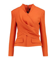 Balmain Balmain Wrap Effect Crepe Jacket Bright Orange