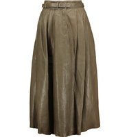 Belstaff Belstaff Elly Pleated Leather Midi Skirt Army Green