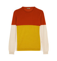 Bottega Veneta Bottega Veneta Color Block Merino Wool Sweater Yellow