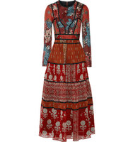 Burberry Burberry Paneled Printed Canvas And Silk Georgette Midi Dress Multi