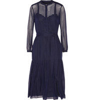 Burberry Burberry Striped Wool And Silk Blend Dress Midnight Blue