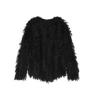 DKNY Dkny Fringed Knitted Jacket Black