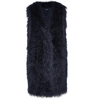 DKNY Dkny Oversized Faux Fur Gilet Midnight Blue