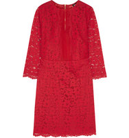 DKNY Dkny Silk Organza Paneled Guipure Lace Dress Red