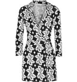 Diane von Furstenberg Diane Von Furstenberg Celeste Wrap Effect Printed Silk Jersey Playsuit Black