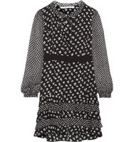 Diane von Furstenberg Diane Von Furstenberg Fiona Chiffon Trimmed Printed Stretch Silk Mini Dress Black