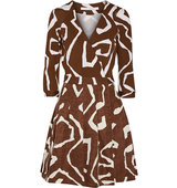 Diane von Furstenberg Diane Von Furstenberg Jewel Printed Silk Blend Wrap Dress Chocolate