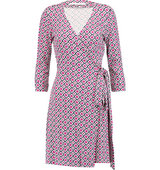 Diane von Furstenberg Diane Von Furstenberg Julian Printed Cotton And Silk Blend Jersey Wrap Dress Magenta