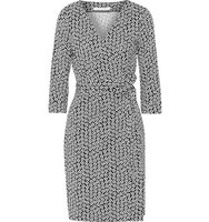 Diane von Furstenberg Diane Von Furstenberg Julian Printed Cotton And Silk Blend Wrap Dress Black