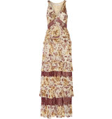 Diane von Furstenberg Diane Von Furstenberg Karen Lace Trimmed Fil Coup Printed Silk Crepe Maxi Dress Beige