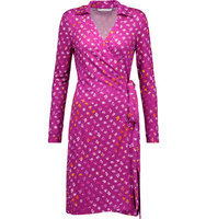 Diane von Furstenberg Diane Von Furstenberg New Jeanne Two Printed Silk Jersey Wrap Dress Plum