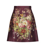 Dolce and Gabbana Dolce Gabbana Printed Silk And Wool Blend Satin Mini Skirt Multi