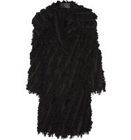Donna Karan New York Donna Karan New York Oversized Fringed Alpaca Blend Coat Black