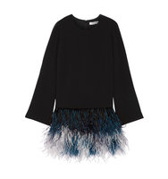 Elizabeth and James Elizabeth And James Serena Feather Trimmed Cady Mini Dress Black