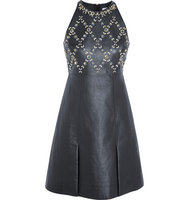 Erdem Erdem Crystal Embellished Leather And Wool Crepe Mini Dress Navy