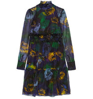 Erdem Erdem Devina Printed Silk Organza Dress Black
