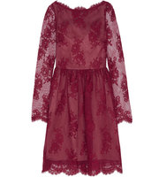 Erdem Erdem Dolores Cotton Blend Lace Mini Dress Red