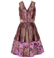 Erdem Erdem Fabienne Metallic Floral Jacquard Dress Gold