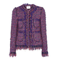 Erdem Erdem Melanie Fringed Tweed Jacket Pink