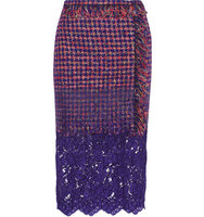 Erdem Erdem Sarah Lace Paneled Fringed Tweed Skirt Dark Purple