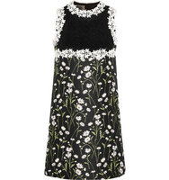 Giambattista Valli Giambattista Valli Guipure Lace And Floral Jacquard Mini Dress Black