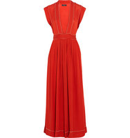 Isabel Marant Isabel Marant Mick Bead Embellished Woven Silk Maxi Dress Red