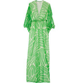 Issa Issa Goddess Printed Crinkled Silk Blend Maxi Dress Bright Green