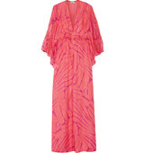Issa Issa Goddess Printed Crinkled Silk Blend Maxi Dress Pink