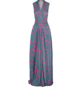 Issa Issa Hazelle Printed Satin Jersey Maxi Dress Teal