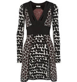 Issa Issa Ophelia Printed Stretch Knit Mini Dress Black