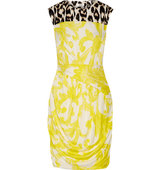 Issa Issa Oralee Printed Stretch Jersey Mini Dress Bright Yellow