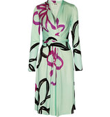 Issa Issa Phylis Printed Silk Blend Jersey Dress Mint