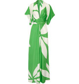 Issa Issa Pollyanna Printed Silk Maxi Dress Bright Green