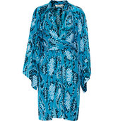 Issa Issa Poppette Wrap Effect Printed Silk Georgette Dress Azure
