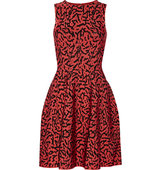 Issa Issa Printed Stretch Jacquard Knit Dress Papaya