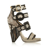 Jimmy Choo Jimmy Choo Kaya Leather Trimmed Python Cobra And Canvas Sandals Snake Print