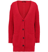 Maje Maje Cable Knit Cardigan Red