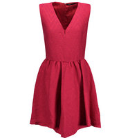 Maje Maje Cloqu Pleated Mini Dress Claret