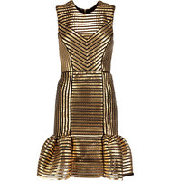 Maje Maje Coated Twill And Mesh Mini Dress Gold