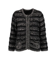Maje Maje Metallic Boucl Knit Cardigan Black