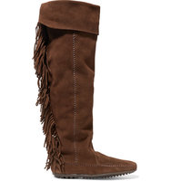 Maje Maje Minnetonka Fringed Suede Knee Boots Dark Brown