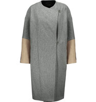 Maje Maje Oversized Color Block Wool Coat Gray